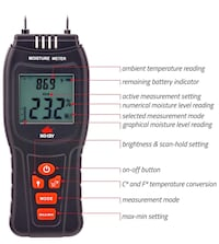 Moisture Meter - Water Leak Detector and Thermometer for Wood & Building Materials, Battery and Replacement Electronic Probes Included  Fontana, 92336