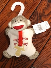 NEW Sock Monkey PACI holder and Rattle