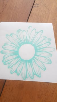 white and blue flower decal Allegan
