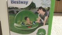 Inflatable Baby swimming pool with shade in frog theme green colour