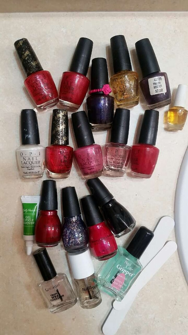 Used 21 OPI bottles Nail polish lot clear glitter color for sale in ...