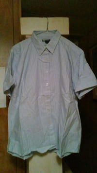 Ladies Blue/White Stripe Button-Up Front Shirt.  New Waverly
