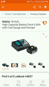 makita 18v charger w battery  Lubbock, 79412