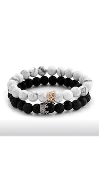 Black White Stone Beads with Gold Silver Colour Alloy Crown Bracelet Surrey, V3V 4L6