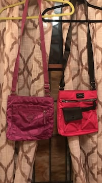 two pink and red crossbody bags