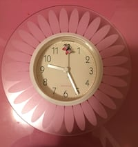 Round pink and beige floral analog wall mount clock Taylor Lake Village, 77586