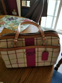 brown and green plaid leather handbag Bunker Hill, 25413