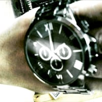 round black chronograph watch with black link bracelet Miami, 33138