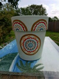 Mandala design Hand painted Plant pot