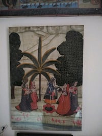 Traditional folk painting(on cloth) framed(2) Silver Spring, 20906