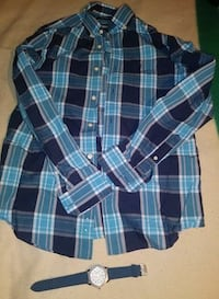 blue, teal, and white plaid print sport shirt Union, 07083