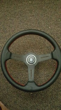 black and gray steering wheel