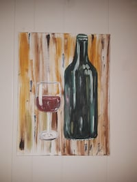wine bottle and wine glass painting