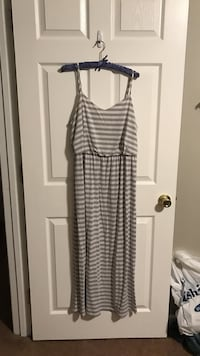 grey stripe spaghetti strap maxi dress