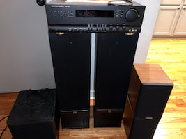 Two Tower MS Speakers, Harmon/Kardon Receiver, Two Near Speakers, Yamaha Subwoofer