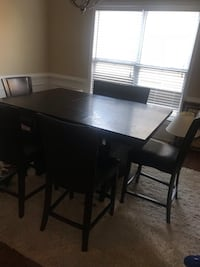 Dining room set with 6 leather chairs counter night  Cumming