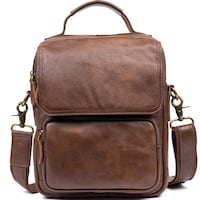 BOOPDO DESIGN MANTIME HANDMADE CASUAL LEATHER CHEST BAG IN BROWN