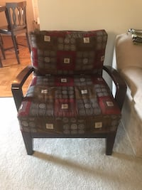 Black and red fabric sofa chair Arlington