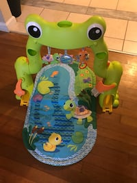 baby's green and blue Fisher-Price bouncer Woodbridge, 22193