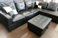 Black leather sectional with matching storage North Highlands