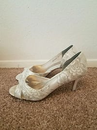 White and silver Bridal heels Boise, 83706