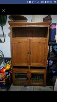 Solid oak armoire cabinet with shelf and light Syracuse, 13209
