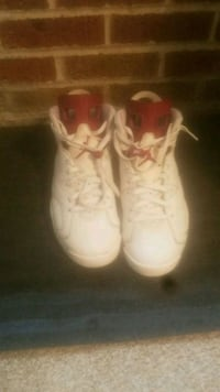 pair of white Air Jordan basketball shoes St. Louis, 63104