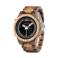 BOBO BIRD LED DOUBLE DISPLAY WOODEN WATCH IN BROWN