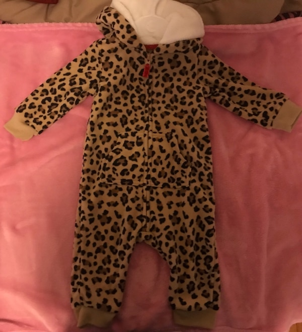 fea4f4a12 Used Baby Girl Carters Leopard Animal Print Fleece Hooded Jumpsuit ...