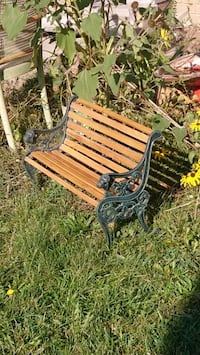 DOLLSIZE garden bench wood and wrought iron