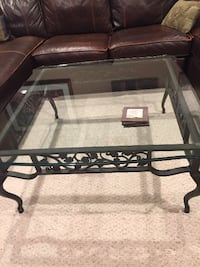 4 matching iron glass top tables HERNDON