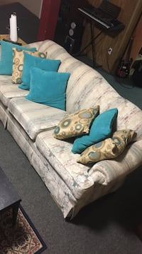 blue and white fabric sofa Edmonton, T5T 1N6