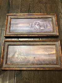 """Gorgeous Matching Tigers and Elephants Framed 12"""" x 6"""" Photo Set Brant, N0E 1R0"""
