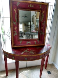 Painted Table and Matching Mirror