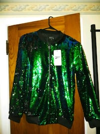 Green and blue sequin jacket
