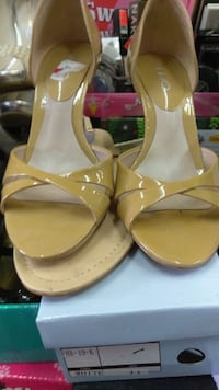 pair of yellow leather open-toe ankle strap heels Los Angeles, 90011