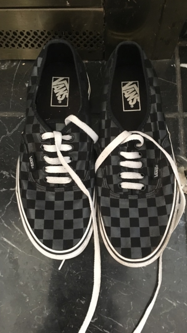 Used pair of gray-and-black Vans checkered low-top sneakers for sale in  Acworth - letgo 6b98296cc