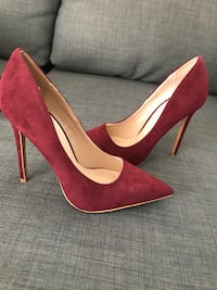Wine suede pointed-toe pumps Perth Amboy, 08861