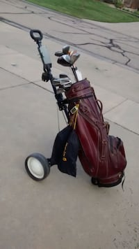 NEGOTIABLE!!! RED LEATHER golf case and clubs Wichita, 67235