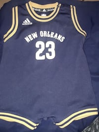blue and white Adidas New Orleans 23 jersey