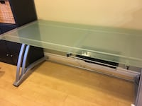Rectangular glass desk