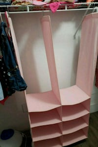 Baby pink cloth closet organizer never really used 929 mi