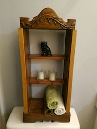 brown wooden 3-layer shelf