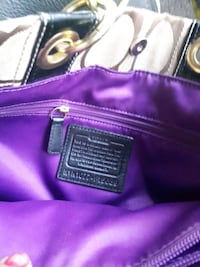 white, brown, and purple Coach leather bag