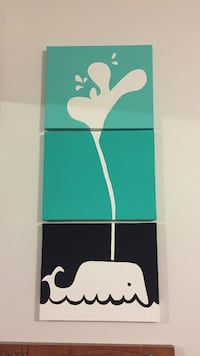 Painting 3 piece hand painted wale canvass