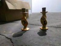 two brown wooden candle holders Cleveland, 44111