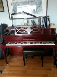 brown wooden upright piano with bench Mississauga, L5R 2B3