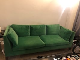 Emerald green velvet sofa Easy clean/ Removable cushion covers.