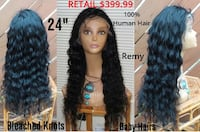 "New 24"" Remy Iris Grace 100% Human Hair Full Lace Wig Glenarden"