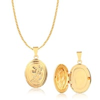 Gold Filled Engraved Photo Locket Pendant Necklace 18 inch chain Fairless Hills